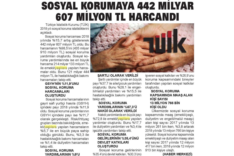 """""""Sosyal Korumaya 442 milyar 607 milyon TL harcandı"""""""