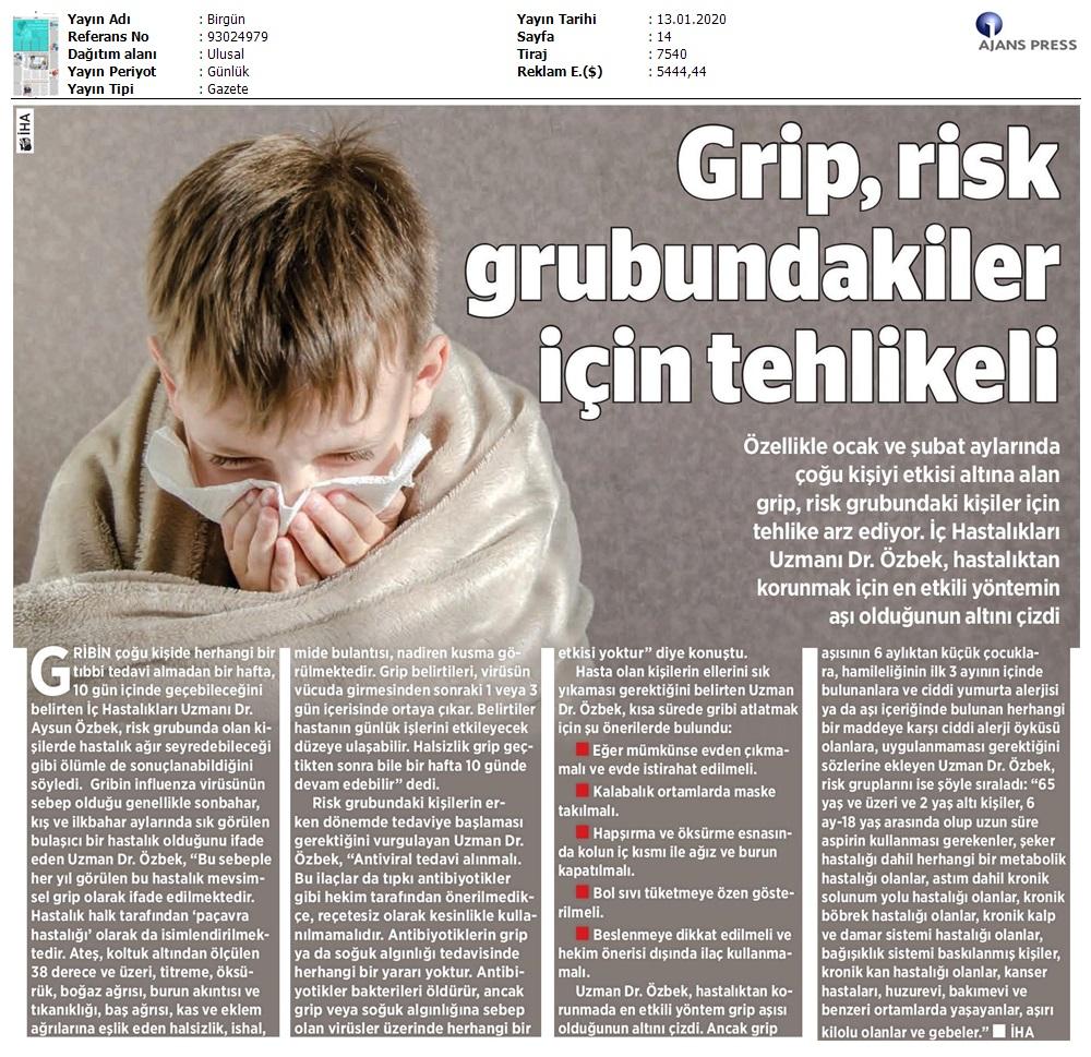 Grip, Risk Grubundakiler için Teklikeli