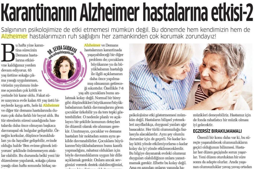 Karantinanın Alzheimer Hastaları Üzerindeki Etkisi
