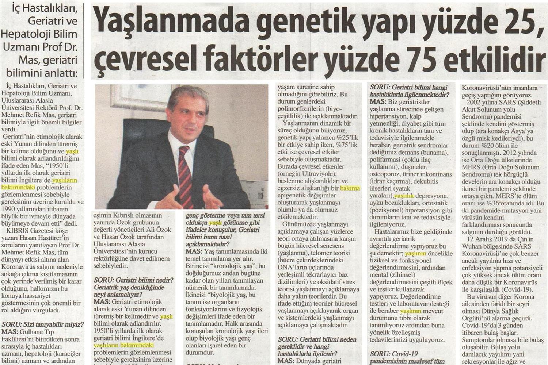 Yaşlanmada genetik yapı yüzde 25