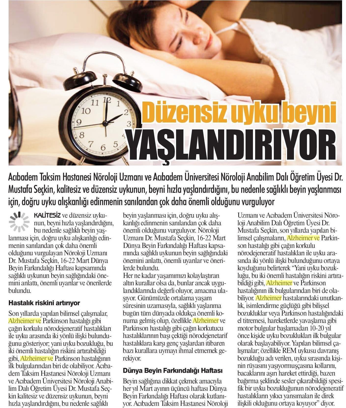 Düzensiz Uyku Beyni Yaşlandırıyor