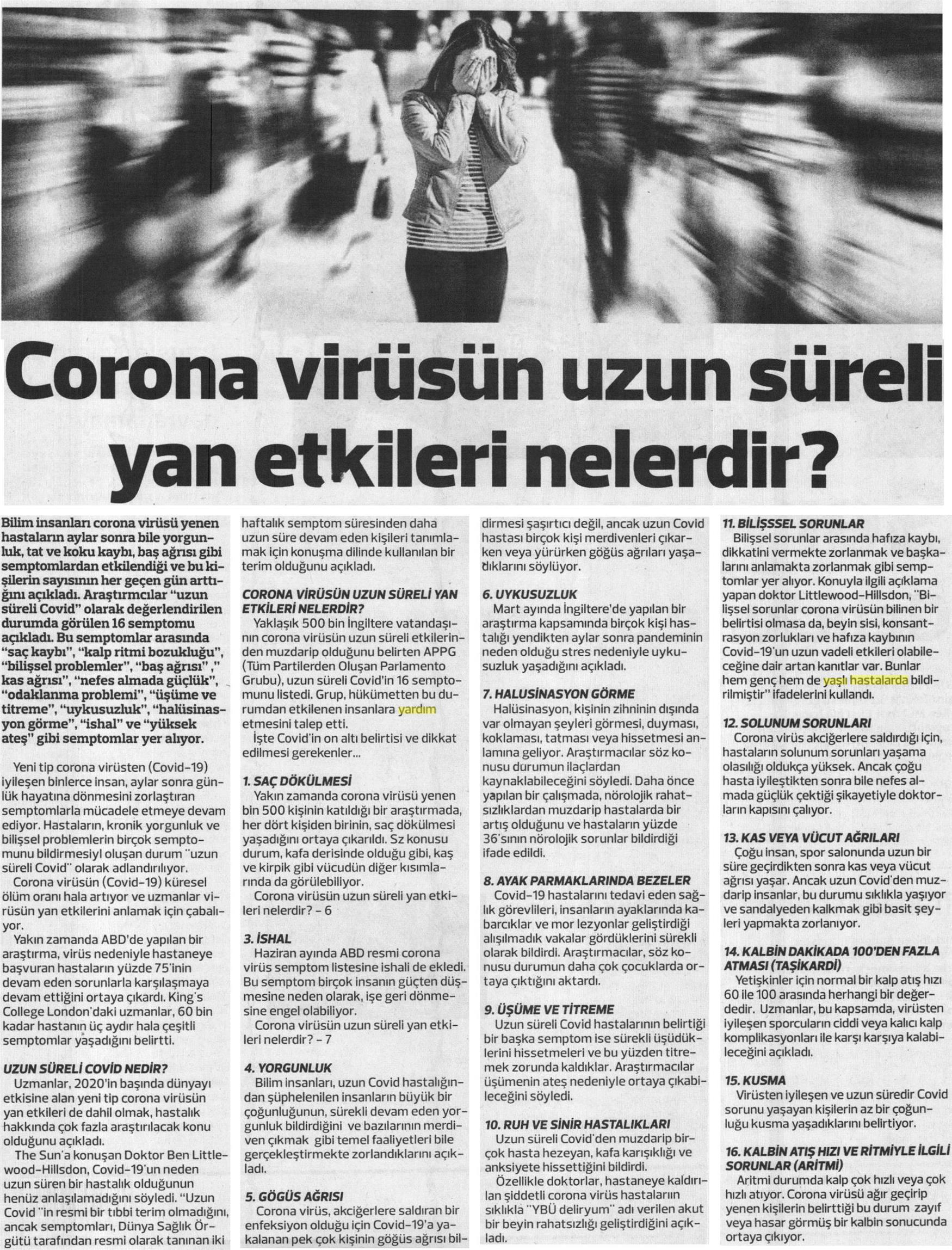 Corona Virüsün Uzun Süreli Yan Etkileri