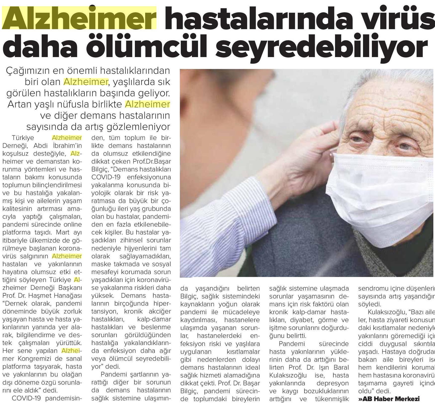 Alzheimer Hastaları Koronadan Daha Çok Etkileniyor
