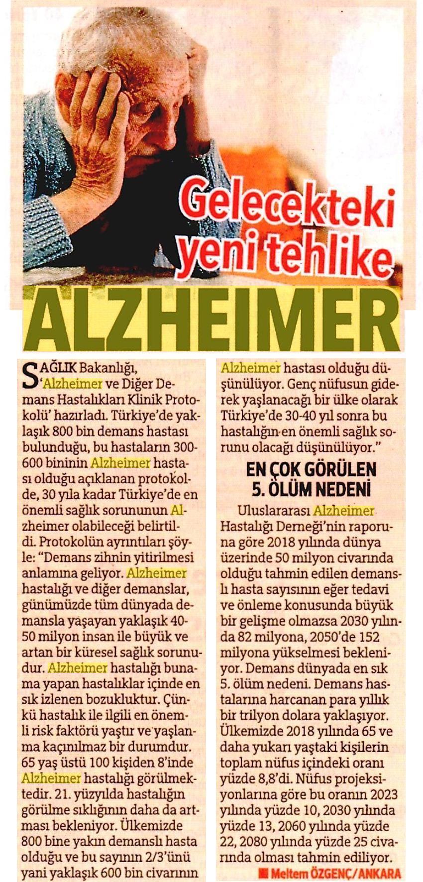 Gelecekteki Yeni Tehlike Alzheimer