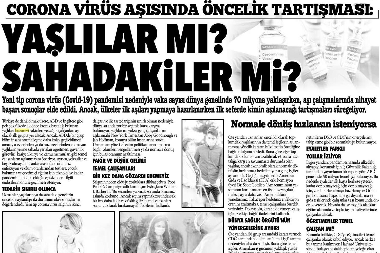 Corona Virüs Aşısında Öncelik Tartışması : Yaşlılar mı? Sahadakiler mi?